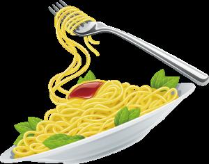Spaghetti op een bord